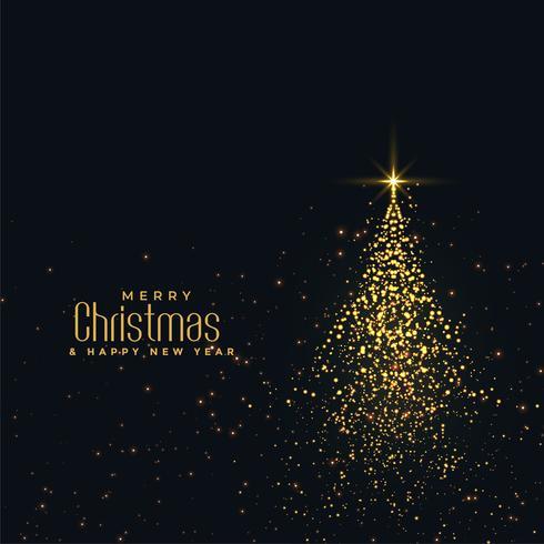 vackert julglänsande träd med gyllene partiklar