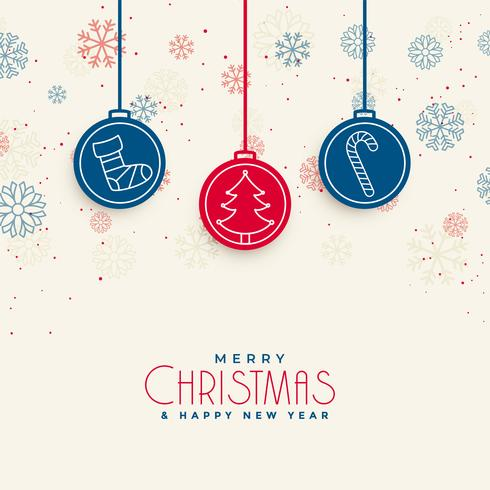 docrative Kartendesign der frohen Weihnachten mit Weihnachtselementen