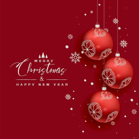 roter Grußhintergrund der schönen Weihnachtskugel-Schneeflocken