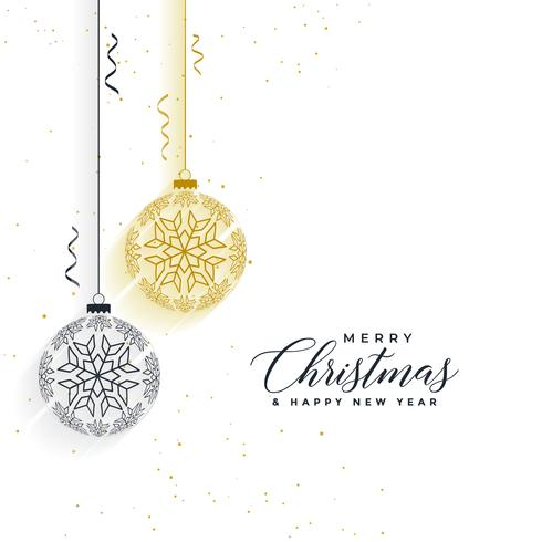 clean merry christmas snowflakes balls background