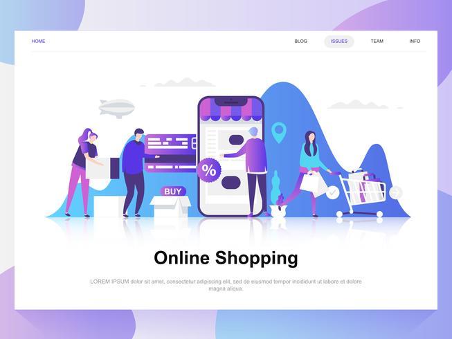 Modernes flaches Designkonzept des Onlineeinkaufs. Zielseitenvorlage. Moderne flache Vektorillustrationskonzepte für Webseite, Website und bewegliche Website. Einfach zu bearbeiten und anzupassen.