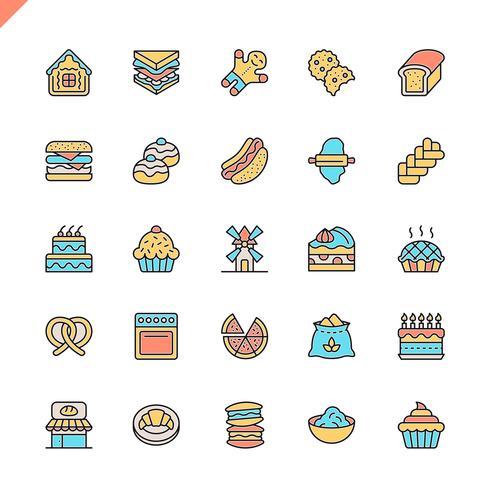 Iconos de elementos de panadería de línea plana establecidos para sitio web y sitio móvil y aplicaciones. Esquema de los iconos de diseño. 48x48 Pixel Perfect. Pack de pictogramas lineales. Ilustracion vectorial
