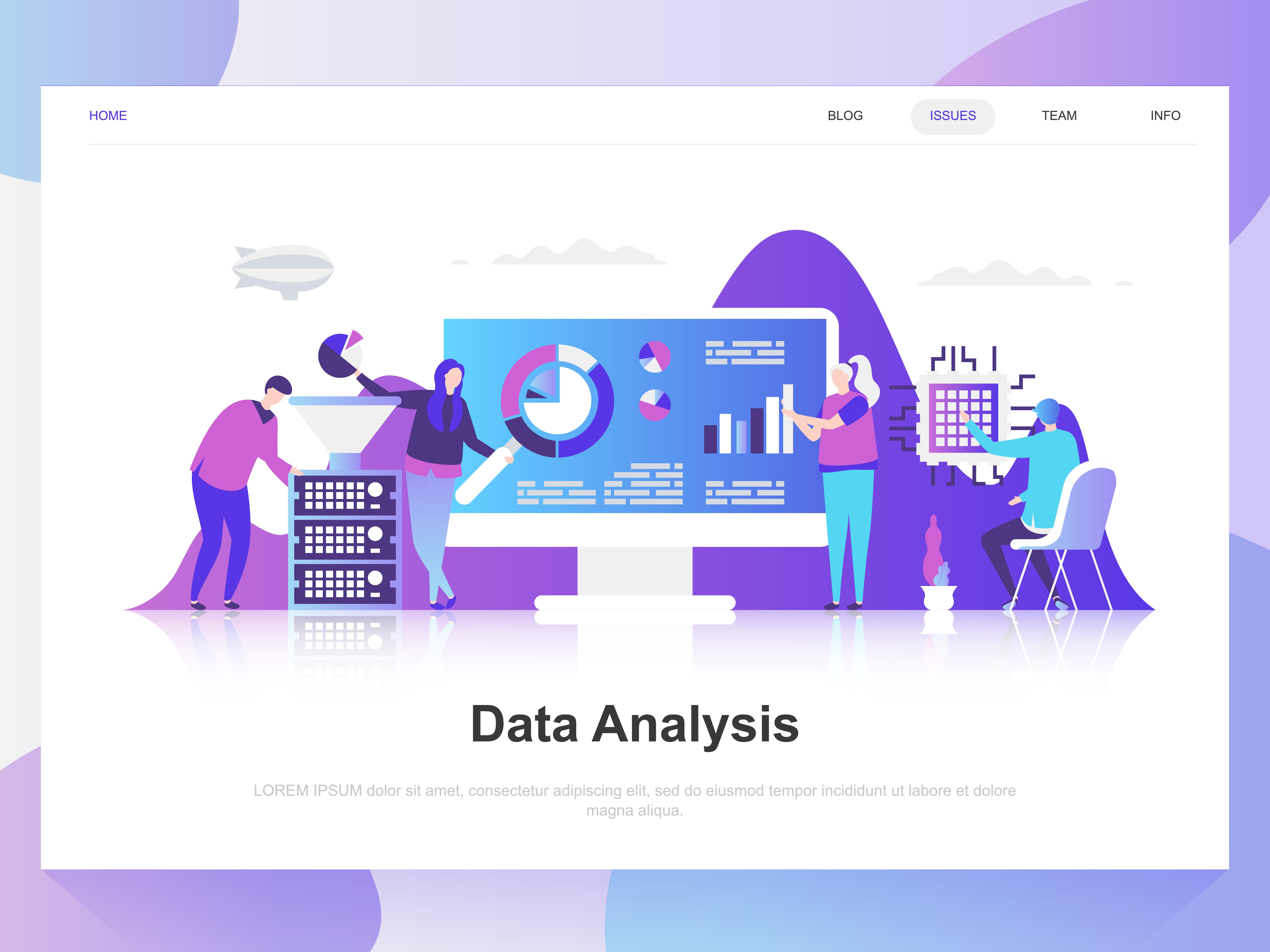 data analysis modern flat design concept  landing page template  modern flat vector illustration