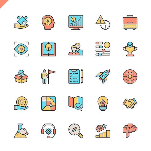 Flache Linie Startprojekt- und Entwicklungselementikonen stellte für Website und bewegliche Site und apps ein. Umreißen Sie Ikonenentwurf. 48x48 Pixel Perfekt. Lineare Piktogrammpackung Vektor-illustration