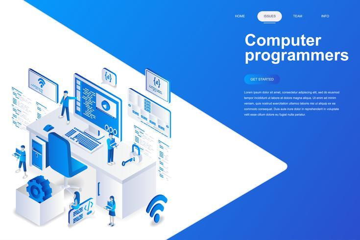 Concepto isométrico moderno del diseño plano de los programadores informáticos. Desarrollo de software y concepto de personas. Plantilla de página de aterrizaje. Ilustración vectorial isométrica conceptual para web y diseño gráfico. vector