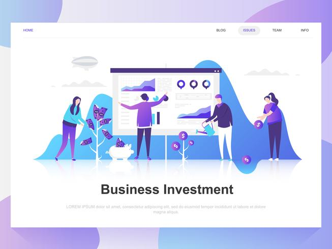 Inversión empresarial moderno concepto de diseño plano. Plantilla de página de aterrizaje. Conceptos de ilustración de vector plano moderno para página web, sitio web y sitio web móvil. Fácil de editar y personalizar.