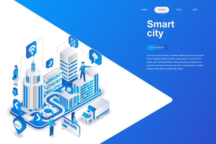 Slimme stads moderne vlakke ontwerp isometrische concept. Architectuur en mensen concept. Bestemmingspaginasjabloon. Conceptuele isometrische vectorillustratie voor web- en grafisch ontwerp.