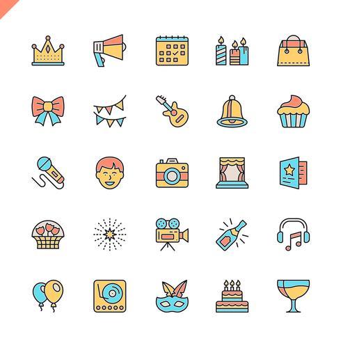 Platte lijn partij, verjaardag, viering elementen pictogrammen instellen voor website en mobiele site en apps. Overzicht iconen ontwerp. 48x48 Pixel Perfect. Lineair pictogrampakket. Vector illustratie.