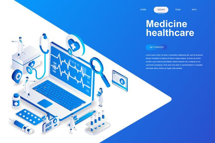 Medicina e saúde conceito moderno design plano isométrico. Conceito de farmácia e pessoas. Modelo de página de destino. Ilustração isométrica conceptual do vetor para a Web e o projeto gráfico.