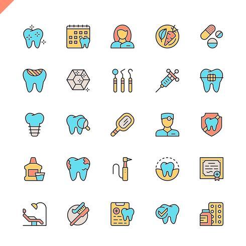 Iconos dentales de línea plana establecidos para sitio web y sitio móvil y aplicaciones. Esquema de los iconos de diseño. 48x48 Pixel Perfect. Pack de pictogramas lineales. Ilustracion vectorial vector