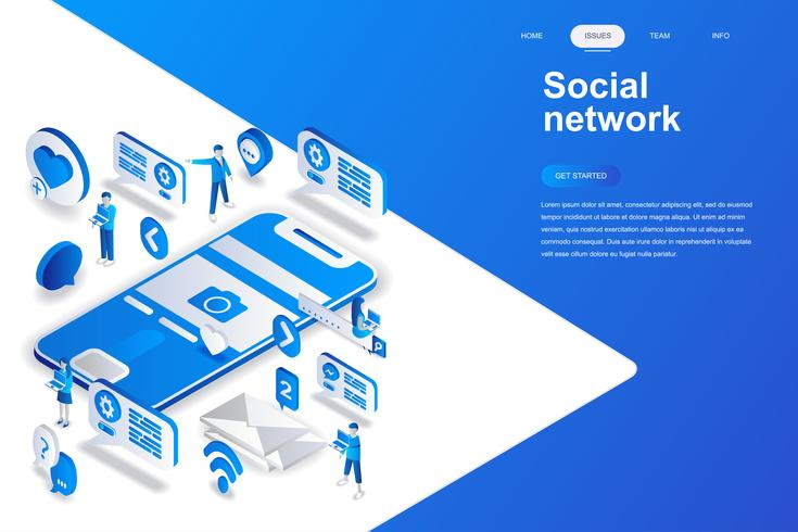 Concetto isometrico moderno design piatto di rete sociale