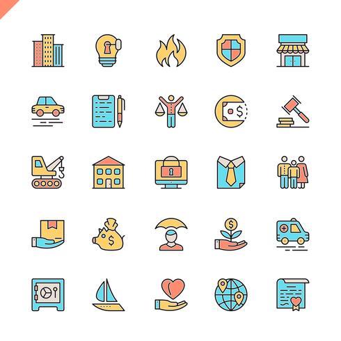 Flache Linie Versicherungsikonen stellte für Website und bewegliche Site und apps ein. Umreißen Sie Ikonenentwurf. 48x48 Pixel Perfekt. Lineare Piktogrammpackung Vektor-illustration