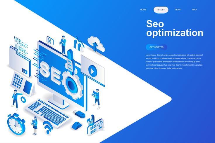 Modernes flaches Design iso Konzept der Optimierung. Suchmaschine und Personenkonzept. Zielseitenvorlage. Isometrische Begriffsvektorillustration für Netz und Grafikdesign.