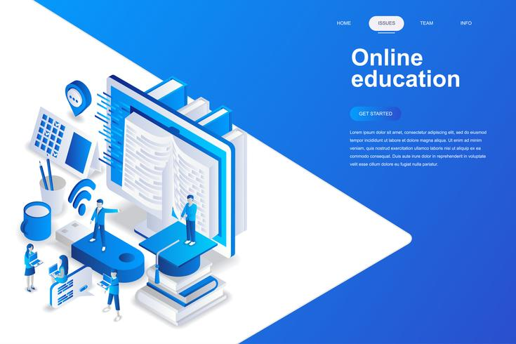 Concept isométrique de design plat moderne de l'éducation en ligne. Concept d'apprentissage et de personnes. Modèle de page de destination. Illustration vectorielle isométrique conceptuel pour le web et le graphisme.