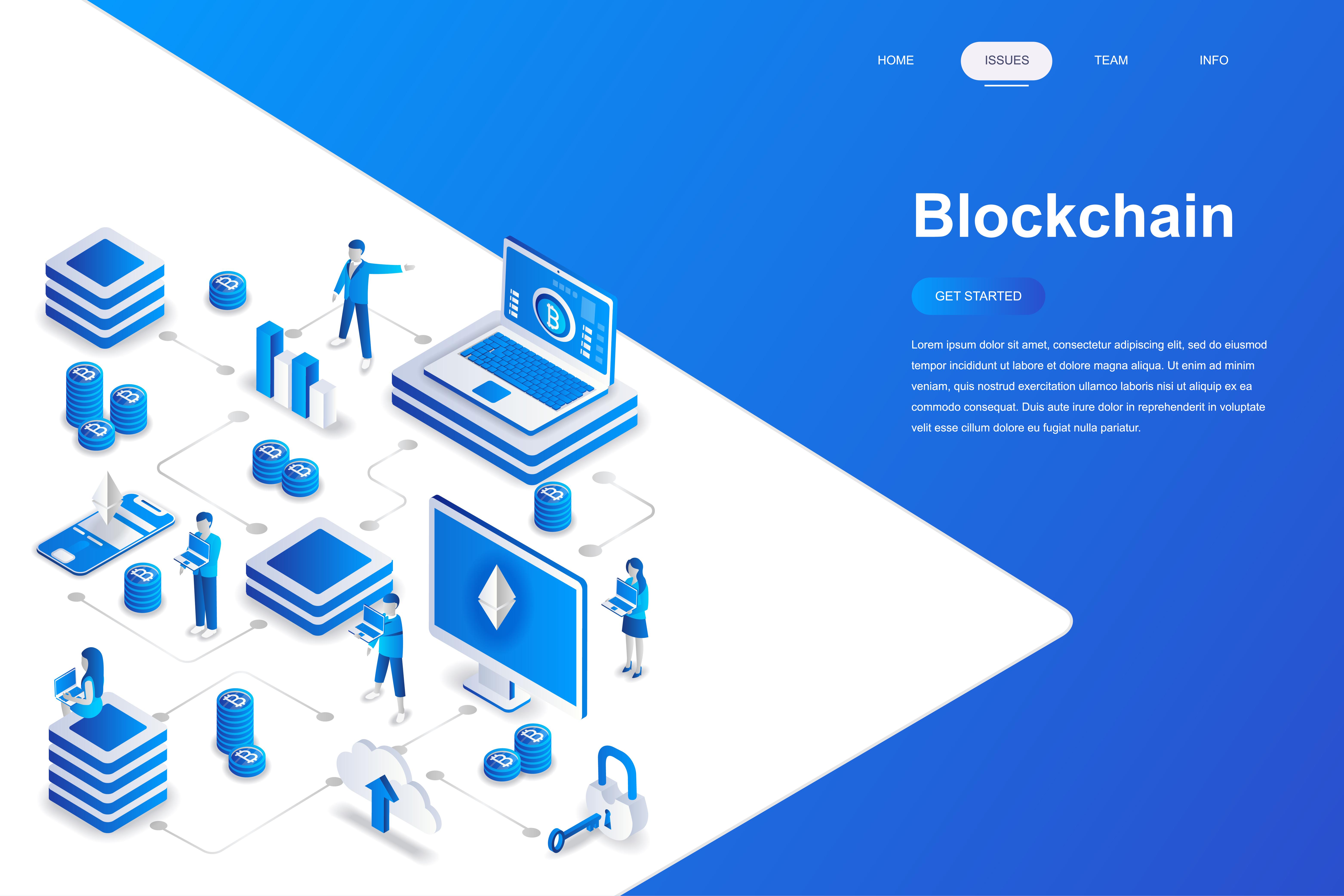 Vector Illustration Web Designs: Blockchain Modern Flat Design Isometric Concept