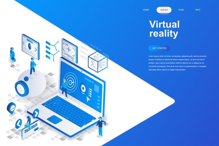 Virtuella förstorade verkligheten glasögon modern platt design isometrisk koncept. Underhållande och människor koncept. Målsida mall. Konceptuell isometrisk vektor illustration för webb och grafisk design.