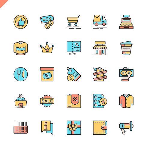 Flat line shopping malls, retail icons set