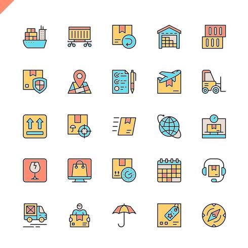 Flache Linie Logistik, Lieferung, Transportikonen stellten für Website und bewegliche Site und apps ein. Umreißen Sie Ikonenentwurf. 48x48 Pixel Perfekt. Lineare Piktogrammpackung Vektor-illustration
