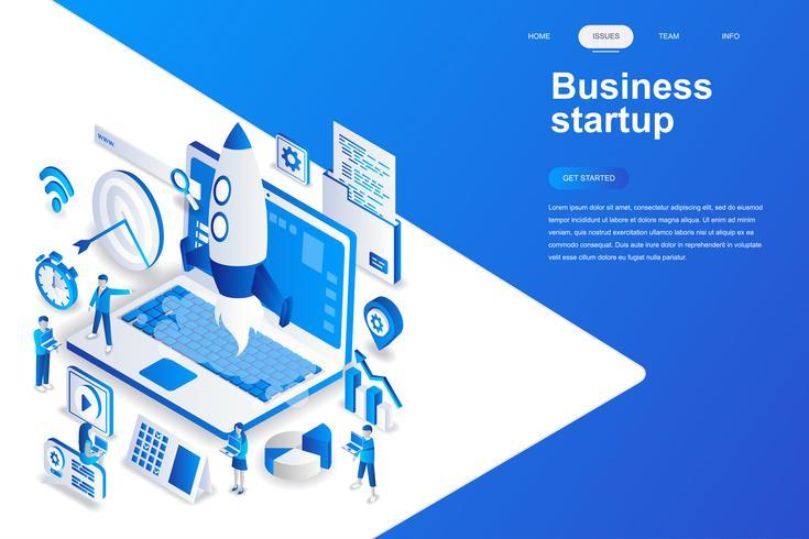 Concepto isométrico moderno diseño plano de inicio de negocios. Lanzamiento de trabajo y concepto de personas. Plantilla de página de aterrizaje. Ilustración vectorial isométrica conceptual para web y diseño gráfico.