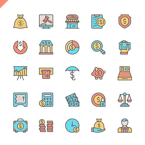 Dinheiro de linha plana, finanças, pagamentos elementos ícones definido para site e site móvel e apps. Design de ícones de contorno. 48x48 Pixel Perfeito. Pacote de pictograma linear. Ilustração vetorial.