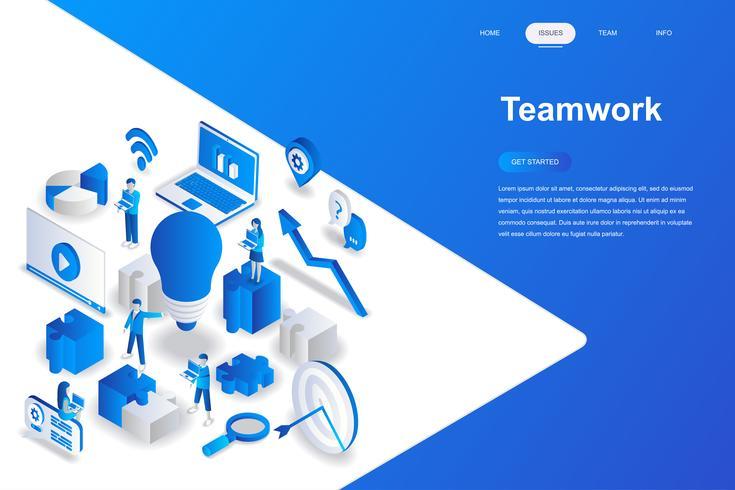 Concept isométrique de travail d'équipe design plat moderne. Concept de leadership et de personnes. Modèle de page de destination. Illustration vectorielle isométrique conceptuel pour le web et le graphisme.