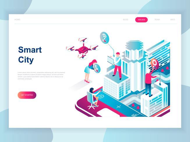 Modern plattform isometrisk koncept för Smart City för banner och hemsida. Isometrisk målsida för målsidor. Affärscenter med skyskrapor, gator i stadens anslutna vägar. Vektor illustration.