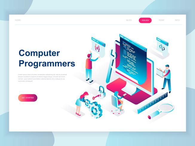 Modern vlak ontwerp isometrisch concept Computerprogrammeurs voor banner en website. Isometrische sjabloon voor bestemmingspagina's. Ontwikkelaar van projectteam van ingenieurs voor website-codering. Vector illustratie.