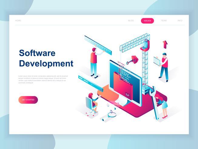 Concepto isométrico de diseño plano moderno de desarrollo de software para banner y sitio web. Plantilla de página de aterrizaje isométrica. Desarrollo de tecnologías de programación y codificación. Ilustracion vectorial vector