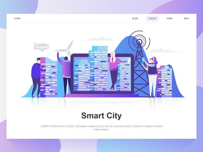 Intelligentes modernes flaches Designkonzept der Stadt. Zielseitenvorlage. Moderne flache Vektorillustrationskonzepte für Webseite, Website und bewegliche Website. Einfach zu bearbeiten und anzupassen.