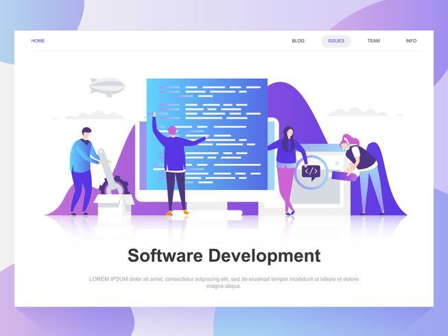 Desarrollo de software moderno concepto de diseño plano. Plantilla de página de aterrizaje. Conceptos de ilustración de vector plano moderno para página web, sitio web y sitio web móvil. Fácil de editar y personalizar.