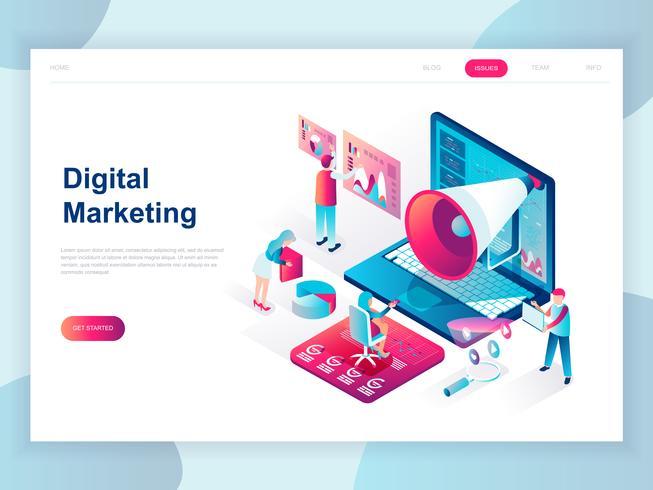 Concepto isométrico de diseño plano moderno de marketing digital para banner y sitio web. Plantilla de página de aterrizaje isométrica. Análisis de negocios, estrategia de contenidos y gestión. Ilustracion vectorial