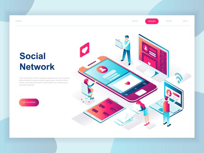 modern isometric social network web banner download free vector