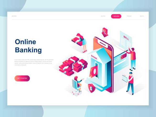 Concepto isométrico moderno diseño plano de la banca en línea para banner y sitio web. Plantilla de página de aterrizaje isométrica. Pago bancario electrónico o atención al cliente. Ilustracion vectorial
