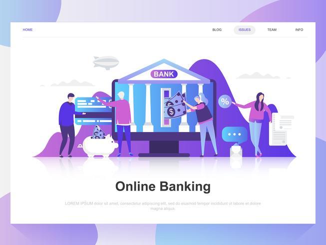 Banca en línea moderno concepto de diseño plano. Plantilla de página de aterrizaje. Conceptos de ilustración de vector plano moderno para página web, sitio web y sitio web móvil. Fácil de editar y personalizar.