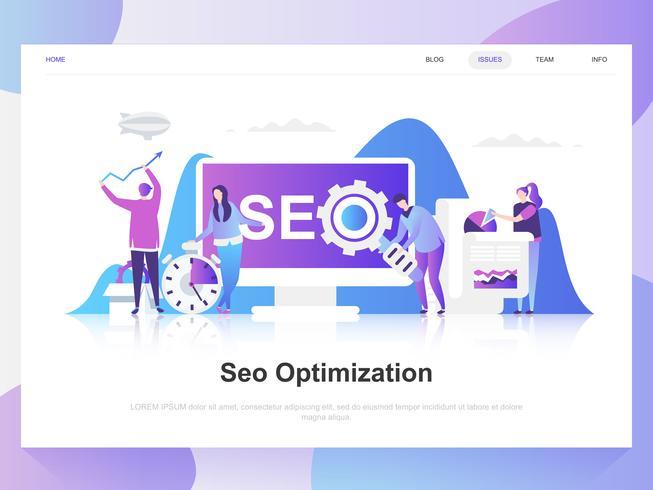 Seo Analyse modernes flaches Design-Konzept. Zielseitenvorlage. Moderne flache Vektorillustrationskonzepte für Webseite, Website und bewegliche Website. Einfach zu bearbeiten und anzupassen.