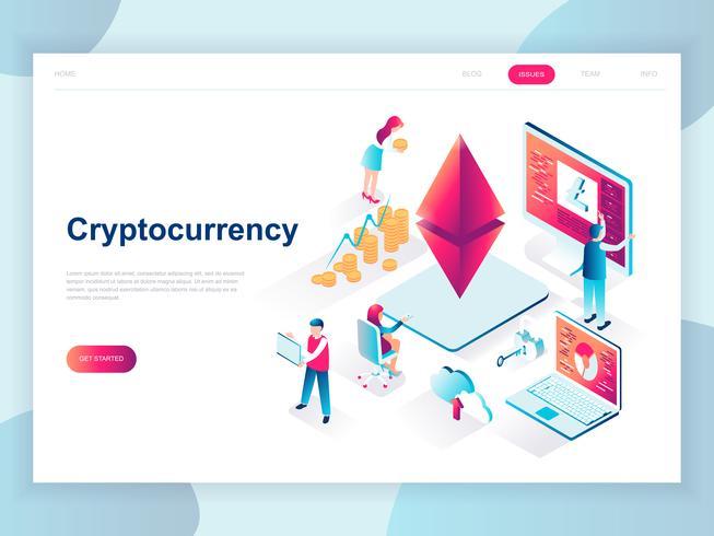 Concepto isométrico de diseño plano moderno de Cryptocurrency Exchange para banner y sitio web. Plantilla de página de aterrizaje isométrica. Granja para la minería del dinero digital y la moneda comercial. Ilustracion vectorial
