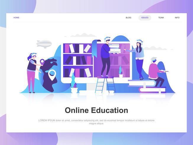 Modernes flaches Designkonzept der Online-Bildung. Zielseitenvorlage. Moderne flache Vektorillustrationskonzepte für Webseite, Website und bewegliche Website. Einfach zu bearbeiten und anzupassen.