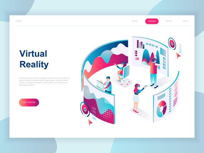Concept isométrique moderne design plat de réalité augmentée virtuelle pour bannière et site Web. Modèle de page d'atterrissage isométrique. Personnes portant un casque avec interface tactile vr. Illustration vectorielle