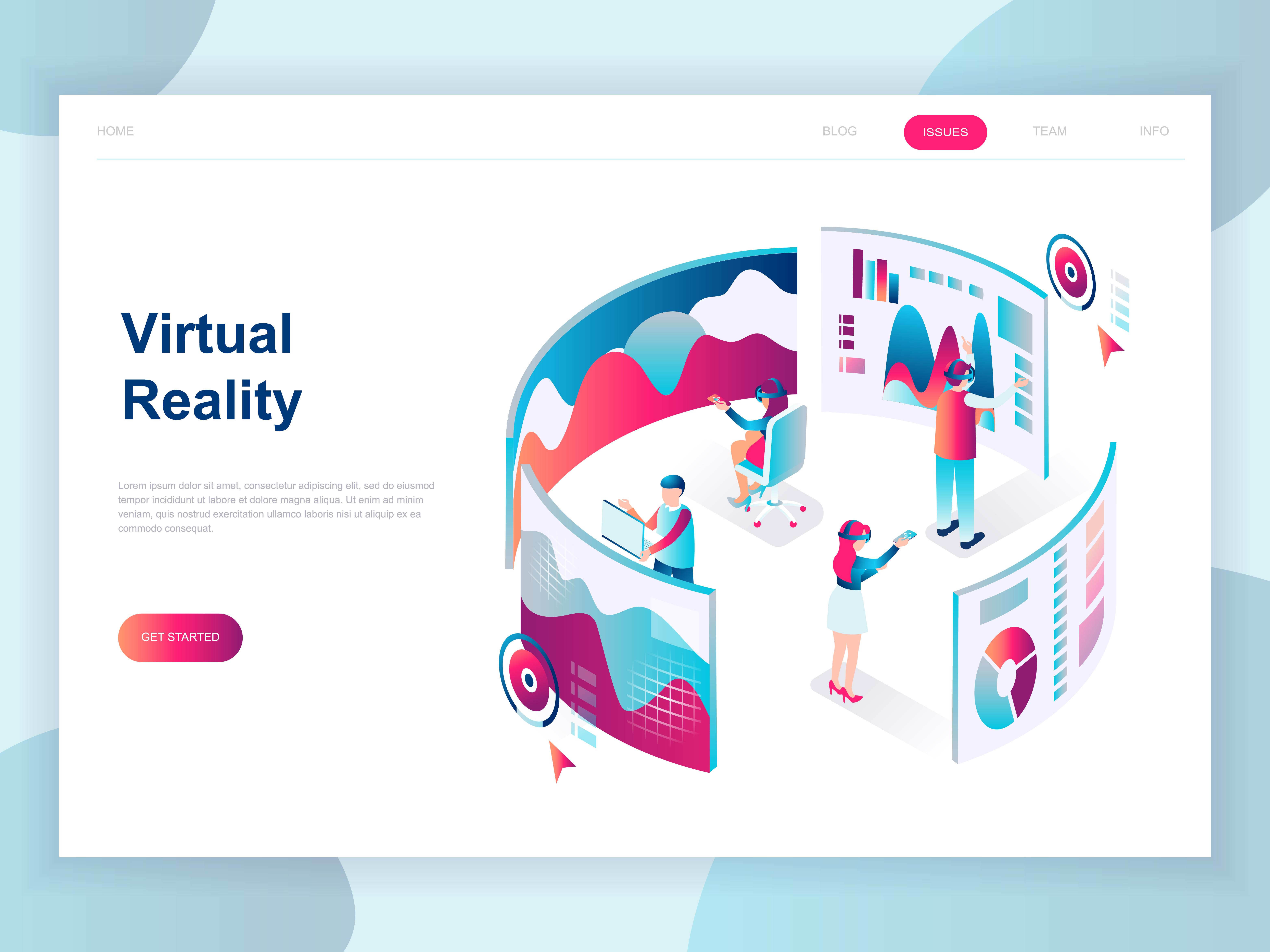 Vector Illustration Web Designs: Modern Isometric Virtual Augmented Reality Web Banner