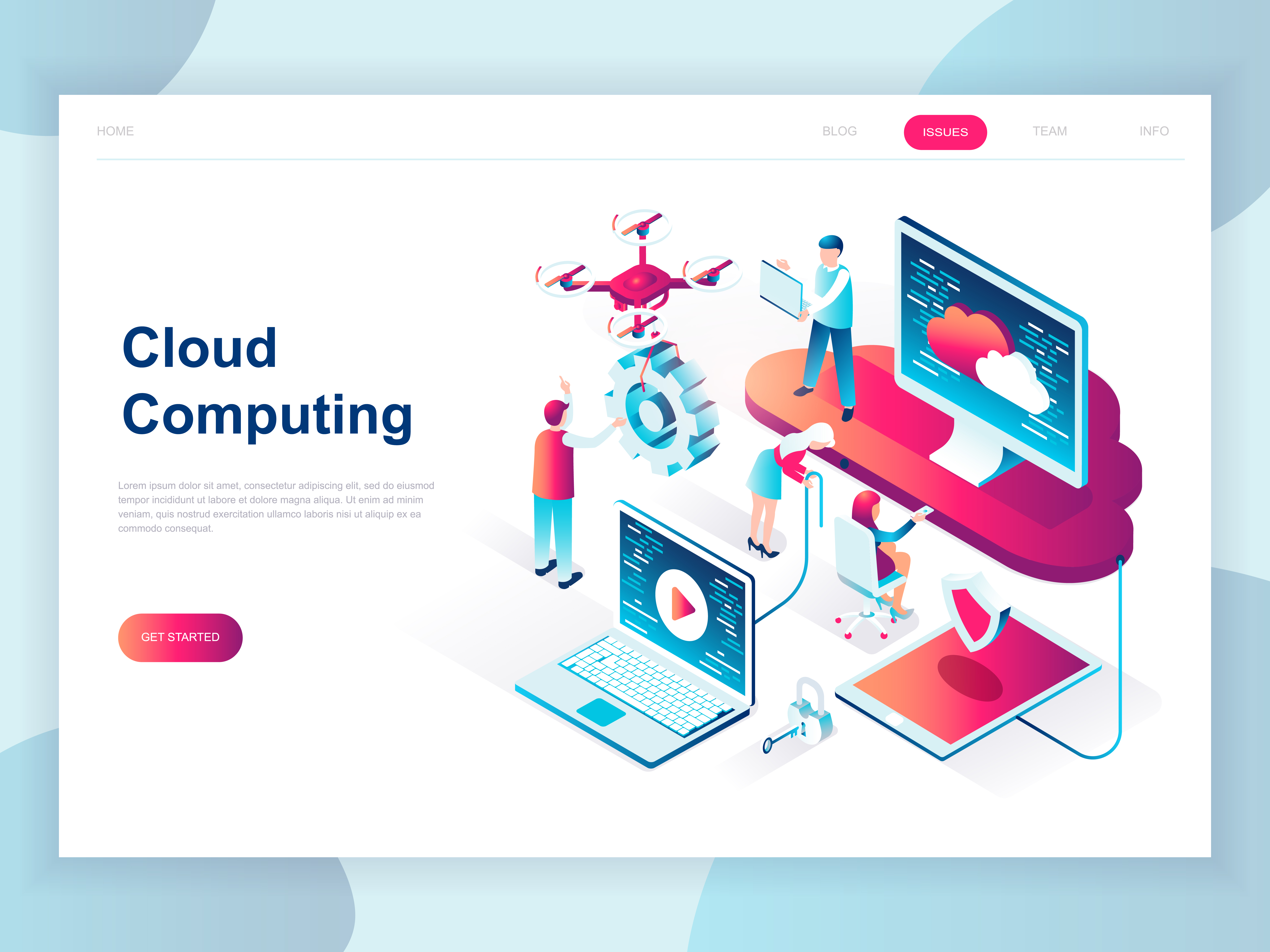 Vector Illustration Web Designs: Modern Isometric Cloud Technology Web Banner