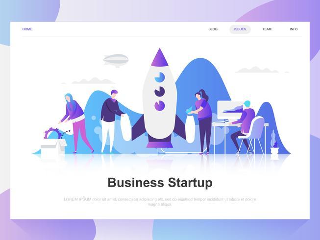 Business startup modernt plandesignkoncept. Målsida mall. Moderna platt vektor illustration koncept för webbsida, webbplats och mobil webbplats. Lätt att redigera och anpassa.