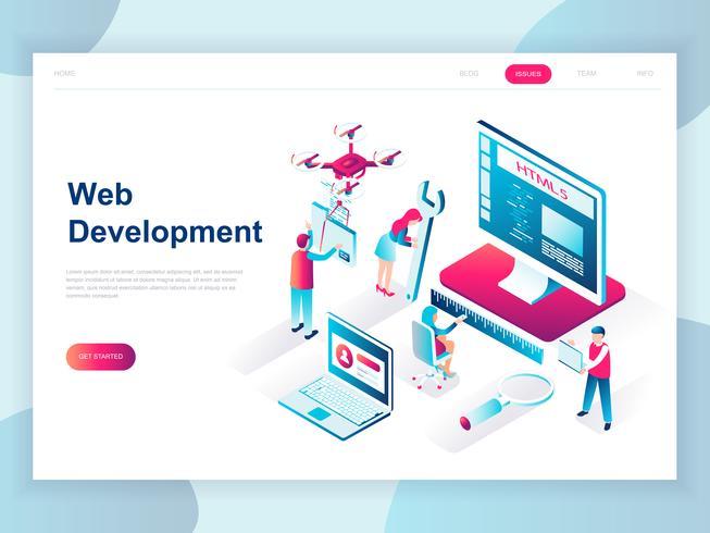 Modern vlak ontwerp isometrisch concept Webontwikkeling voor banner en website. Isometrische sjabloon voor bestemmingspagina's. Ontwikkelaarscoderingssoftware en programmeerwebsite. Vector illustratie.