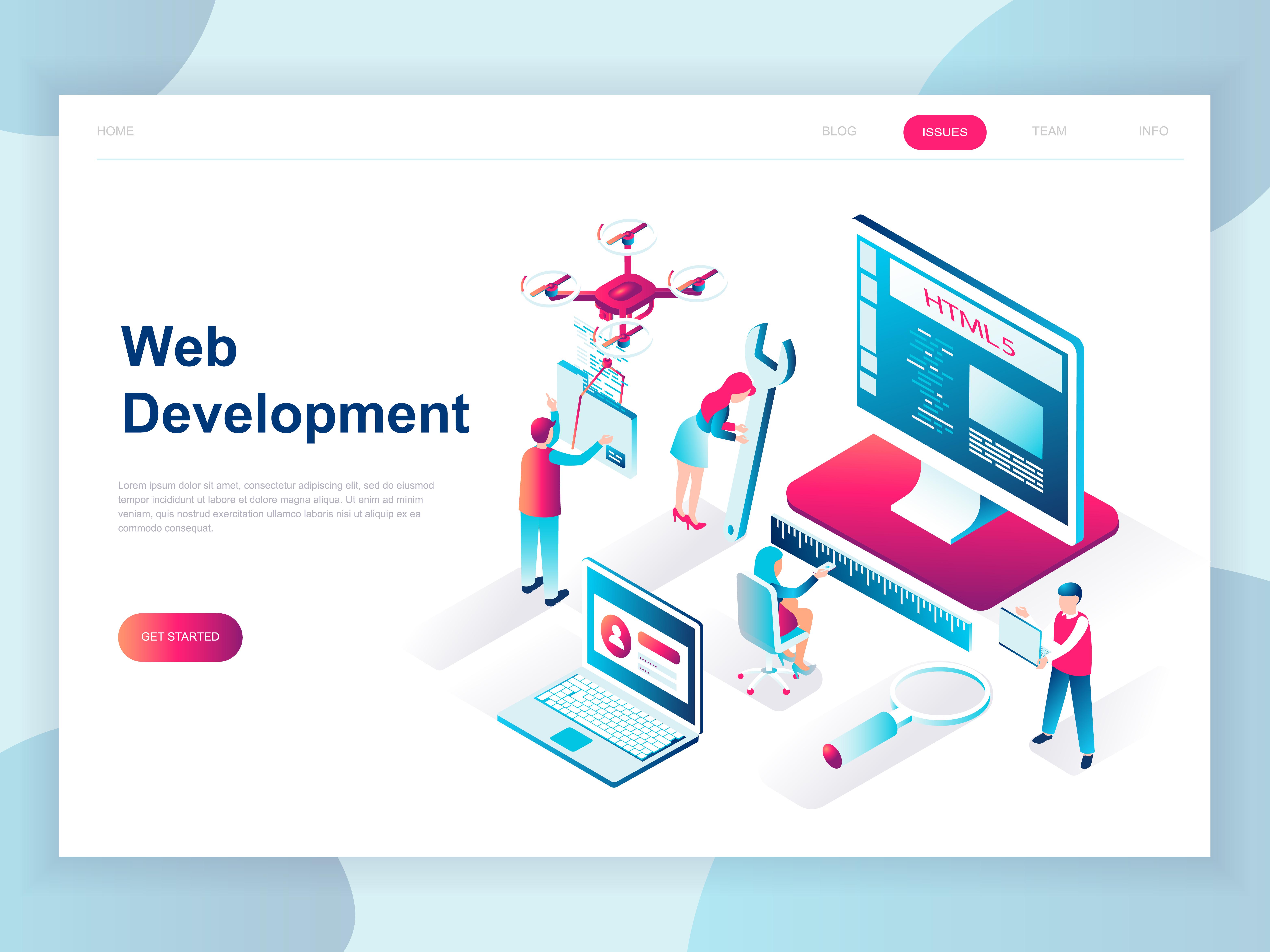 Vector Illustration Web Designs: Isometric Web Development Team