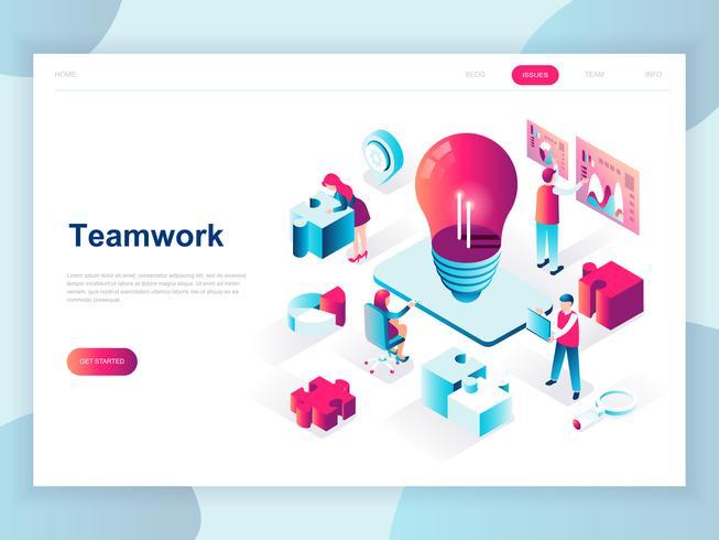 Banner Web isometrica di lavoro di squadra