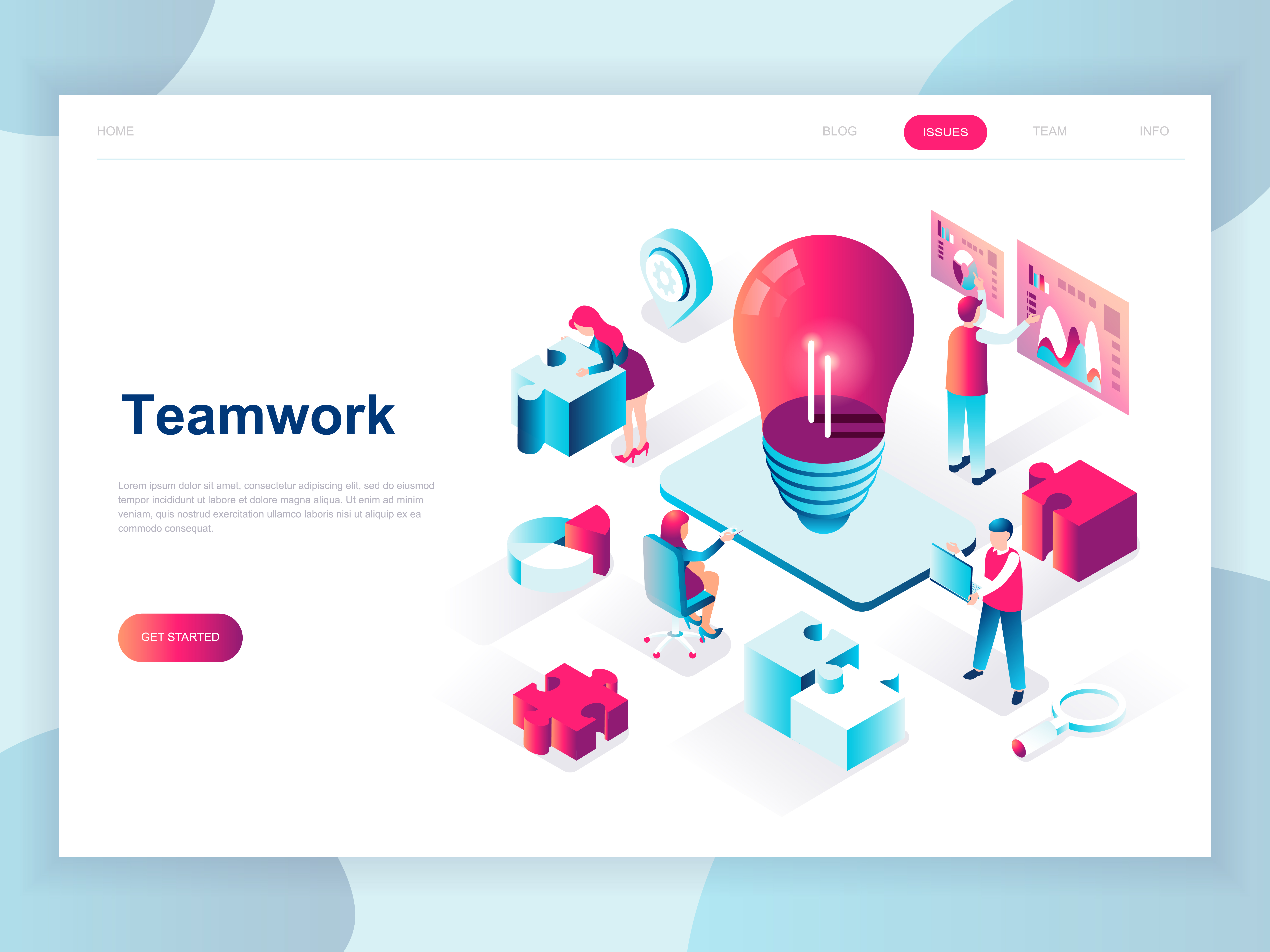 Vector Illustration Web Designs: Isometric Teamwork Web Banner