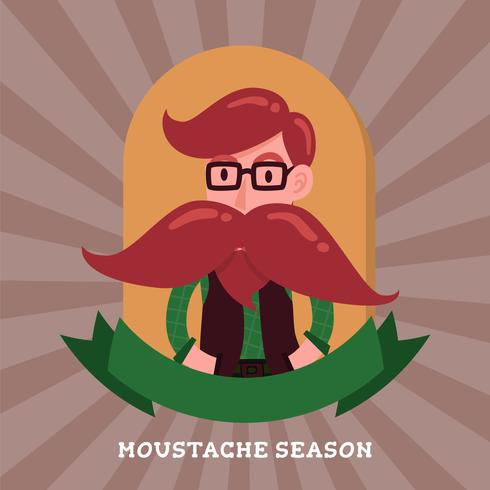 Cute gentleman hipster cartoon character badge logo. Long mustac