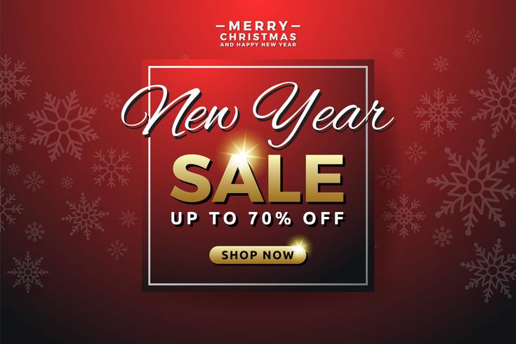 new year sale background banner template design with snowflake