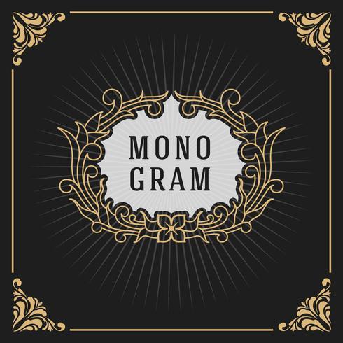Conception de modèle de bannière de luxe monogramme vintage