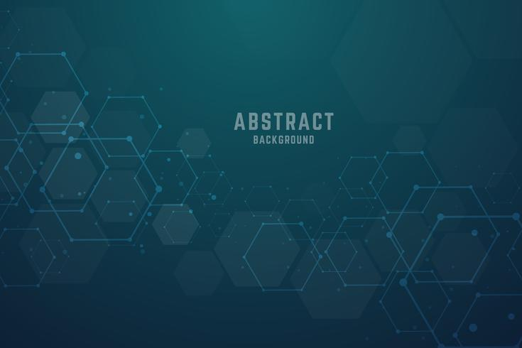 Abstract hexagonal molecular structures background with copy spa