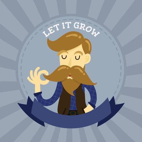 Nettes Gentlemanhippie-Cartooncharakter-Ausweislogo. Langer Mustac